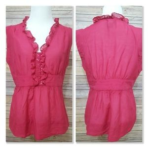 Anthropologie Odille Silk Pink Ruffle Boho Top